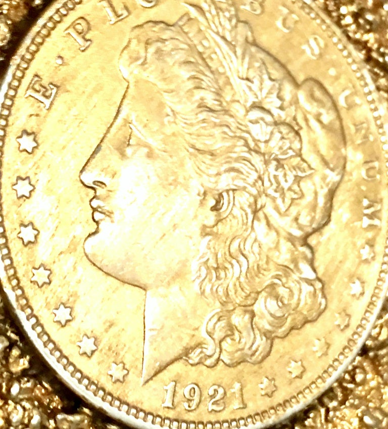 Mid-Century Monumental 1921 Gold Plate Silver US Morgan Dollar Necklace Pendant  For Sale 4