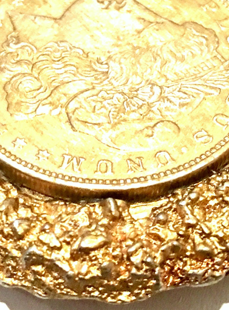 Mid-Century Monumental 1921 Gold Plate Silver US Morgan Dollar Necklace Pendant  For Sale 5