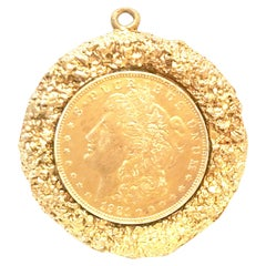 Mid-Century Monumental 1921 Gold Plate Silver US Morgan Dollar Necklace Pendant