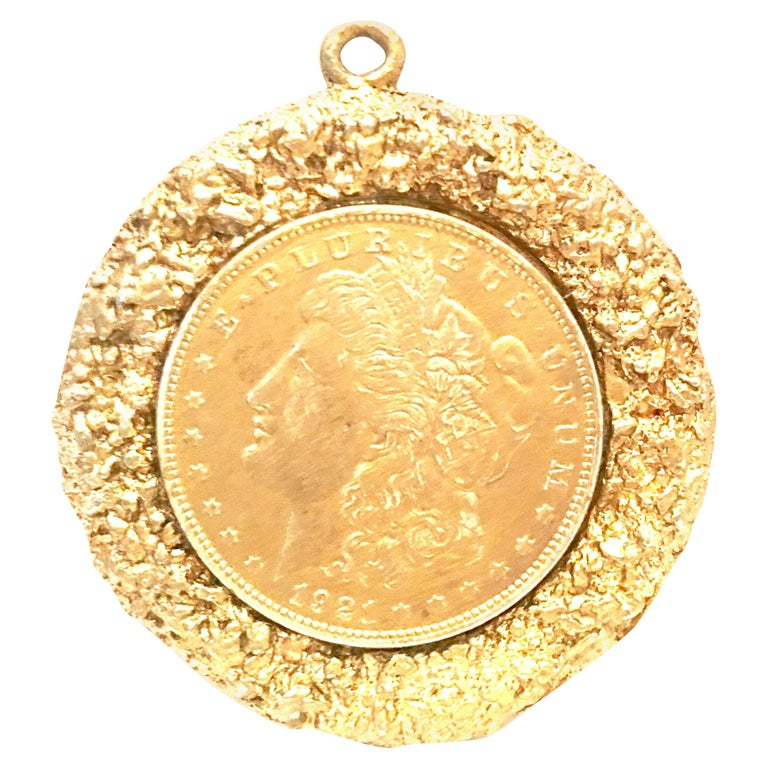 Mid-Century Monumental 1921 Gold Plate Silver US Morgan Dollar Necklace Pendant  For Sale