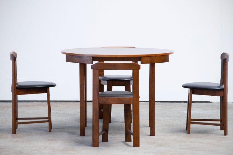 Mid-Century Modern Mid-Century Mordern Built in Table and Chairs Set For Sale