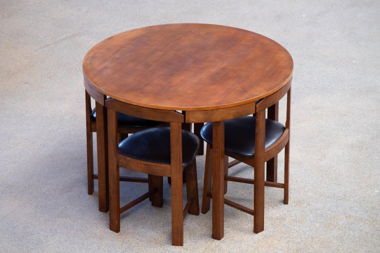 Teak Mid-Century Mordern Built in Table and Chairs Set For Sale
