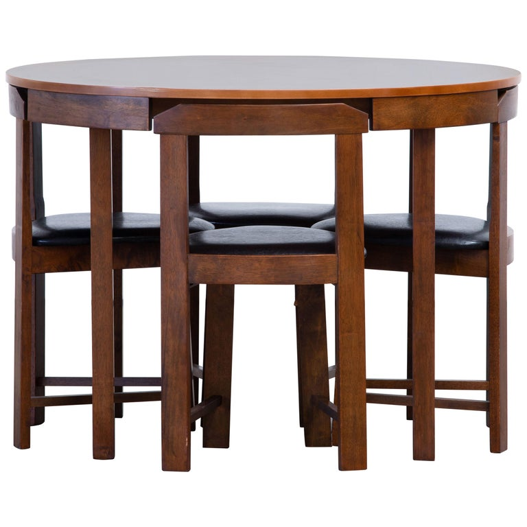 Mid-Century Mordern Built in Table and Chairs Set For Sale