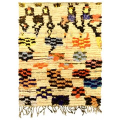 Midcentury Moroccan Multicolored Hand Knotted Wool Rug