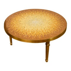 Mid-Century Mosaic Coffee Table with Bronze Frame, circa 1950
