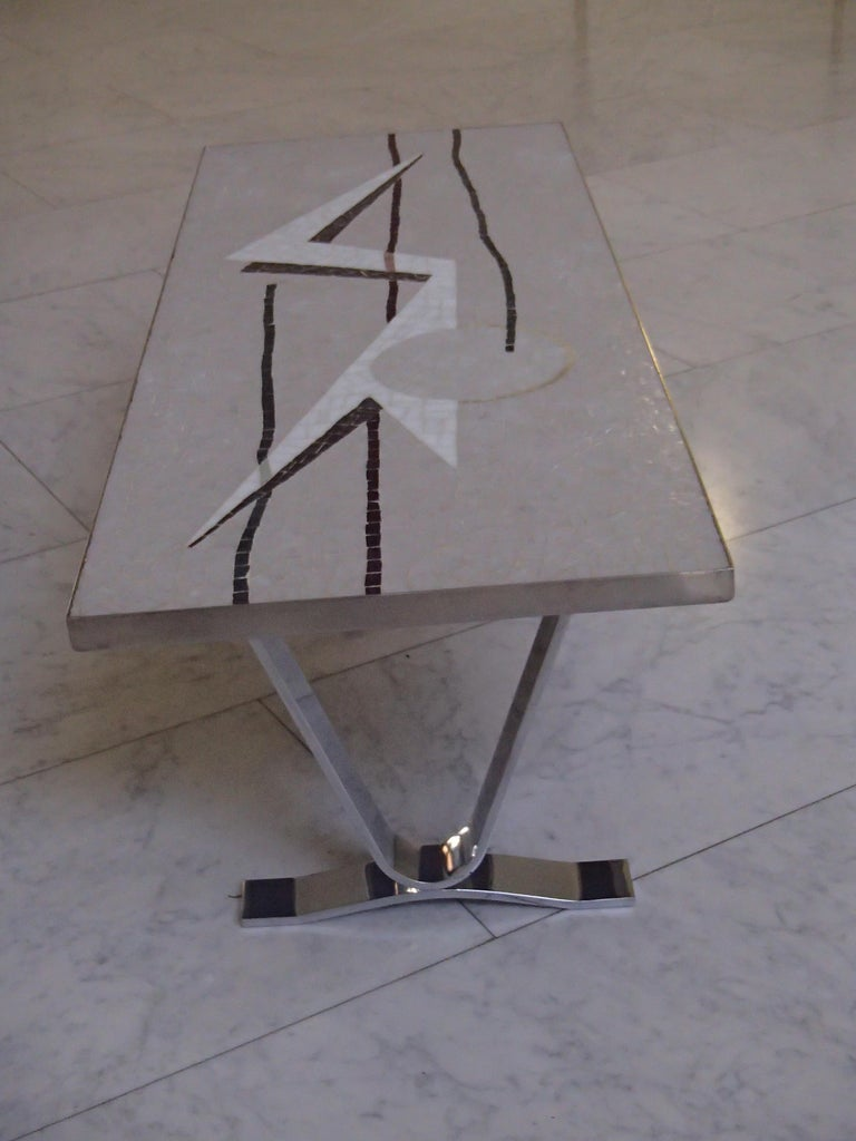 Midcentury Mosaic Rectangular Coffee Table with Chrome Legs For Sale 4
