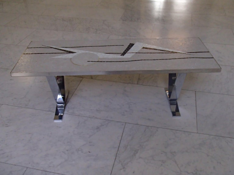 Midcentury Mosaic Rectangular Coffee Table with Chrome Legs For Sale 5