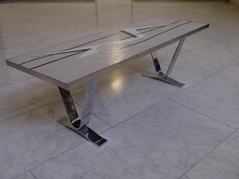 Midcentury Mosaic Rectangular Coffee Table with Chrome Legs For Sale 6