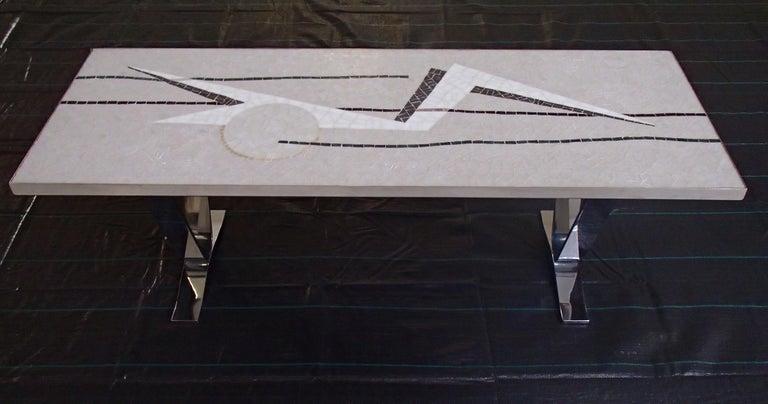 Midcentury mosaic rectangular coffee table with chrome legs.