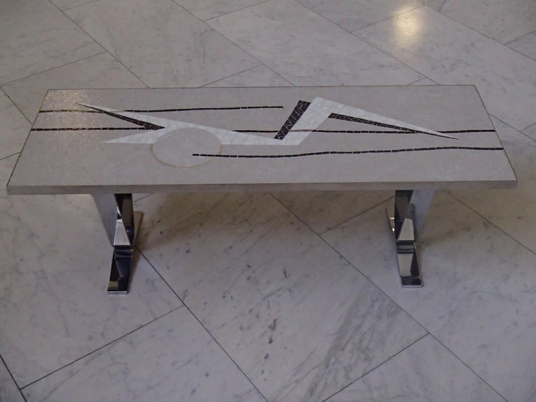Midcentury Mosaic Rectangular Coffee Table with Chrome Legs In Good Condition For Sale In Zurich, CH