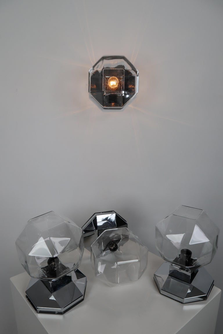 Modern Midcentury Motoko Ishii Sconces Wall Lights, Chrome-plated and Tinted Glasses   For Sale