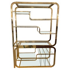 Mid-Century Multi Tiered Brass Etagere or Display Case
