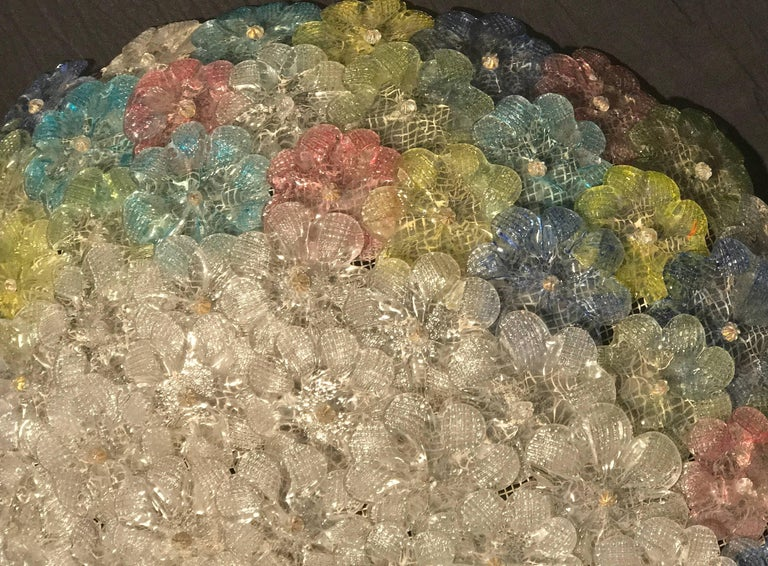 Mid-Century Modern  Mid-Century  Multicolor Flower Glass Ceiling Light 1950s by Barovier e Toso For Sale