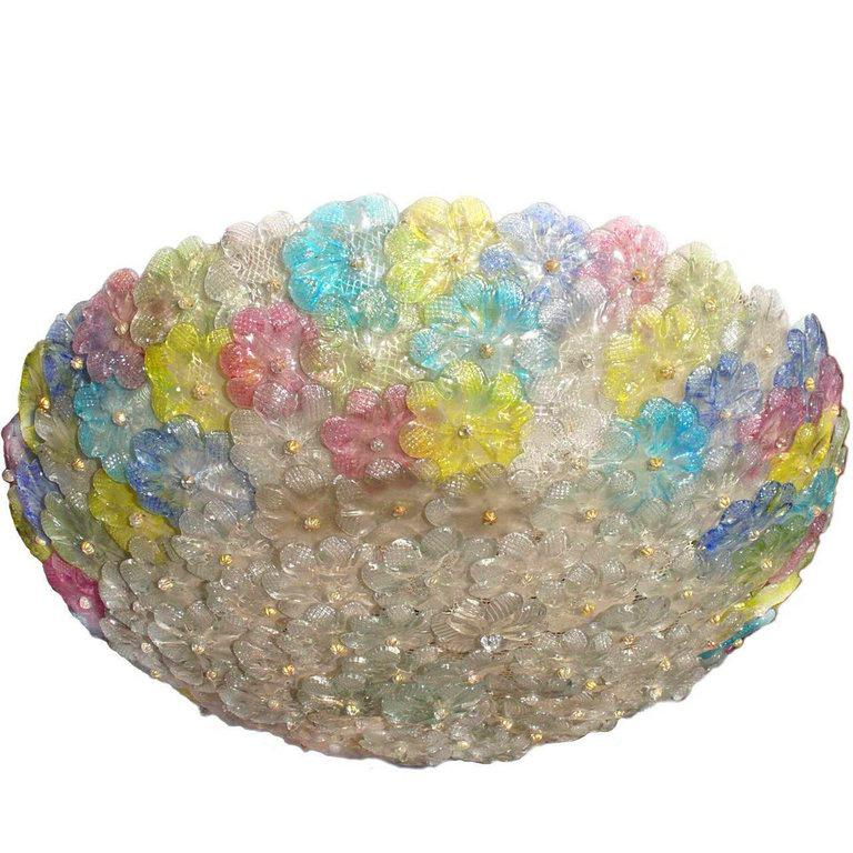 Mid-Century  Multicolor Flower Glass Ceiling Light 1950s by Barovier e Toso For Sale 1