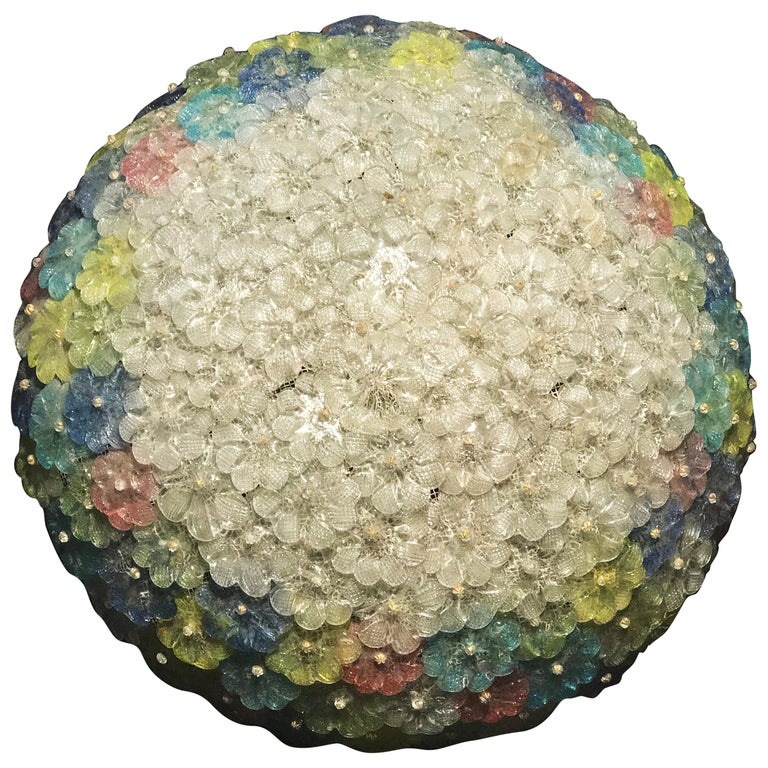 Mid-Century  Multicolor Flower Glass Ceiling Light 1950s by Barovier e Toso For Sale
