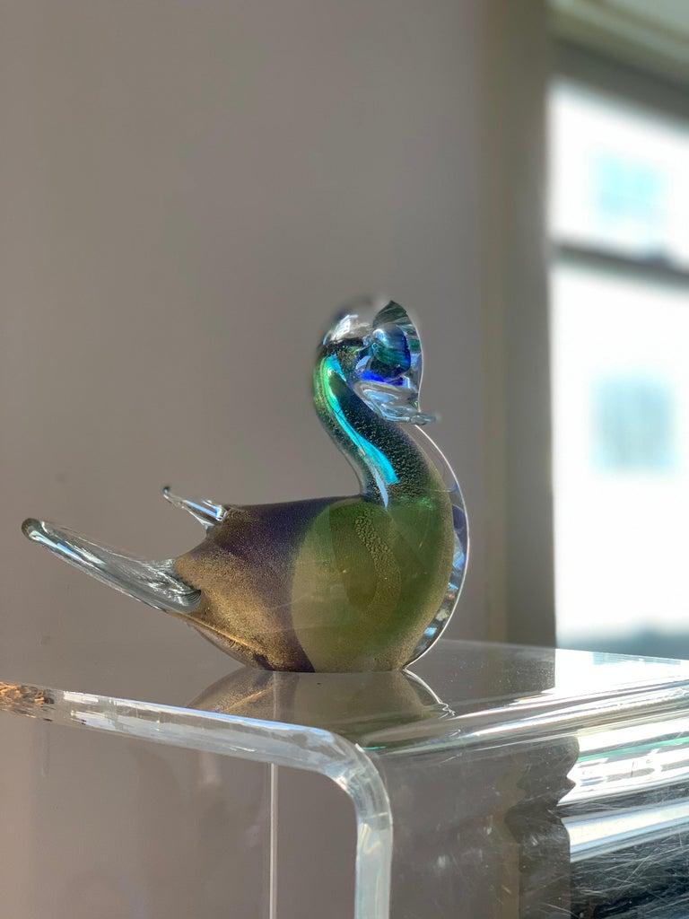 20th Century Midcentury Murano Art Glass Turtledove Lovebird 24-Karat Gold Fleck Blue Green For Sale