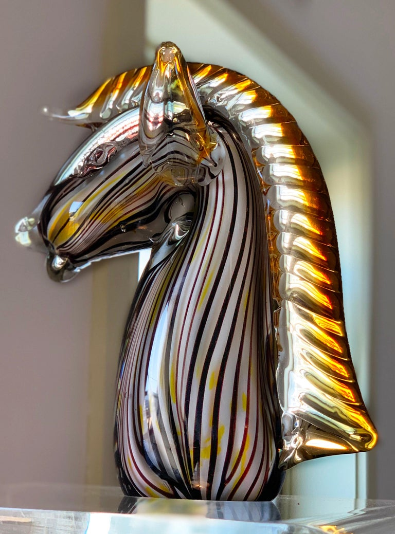 Substantial midcentury blown glass equestrian blast, Murano glass with white, black and marigold yellow accents. Attributed to Gino Cenedese.