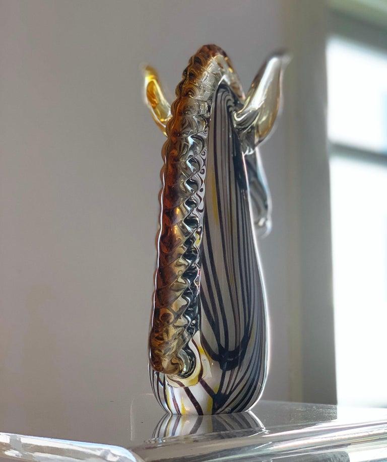 Mid-Century Modern Midcentury Murano Blown Art Glass Horse Sculpture, Cenedese Sumerso, Opaline For Sale