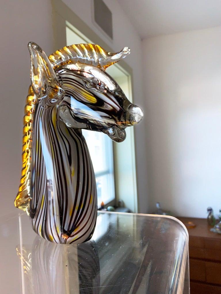 Italian Midcentury Murano Blown Art Glass Horse Sculpture, Cenedese Sumerso, Opaline For Sale