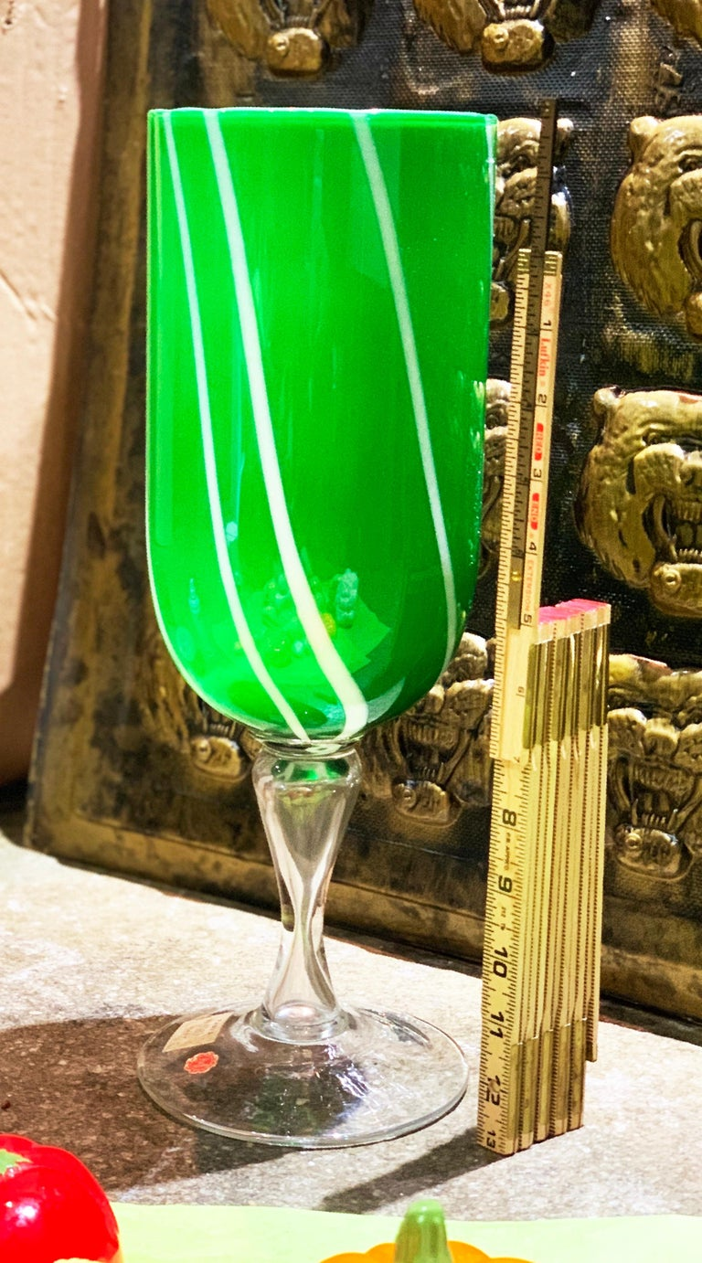 Midcentury Murano blown glass chalice vase pedestal, Kelly Green, 1960s, Venice. With import sticker.