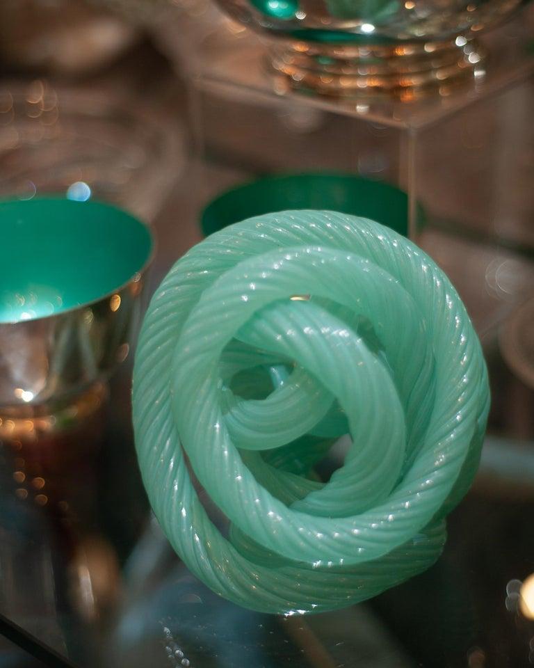 Italian Midcentury Murano Blue Green Glass Cane Rope Sculpture