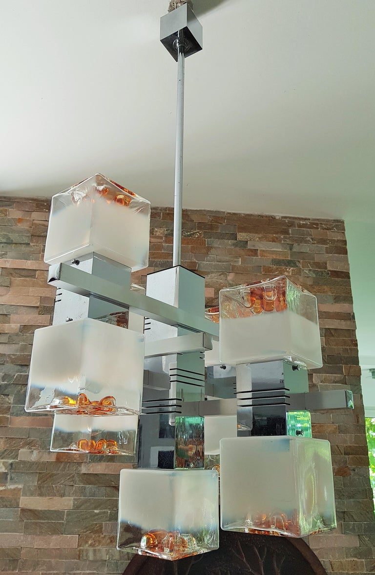 Mid-Century Modern Midcentury Murano Chandelier by Mazzega, Italy, 1968 For Sale