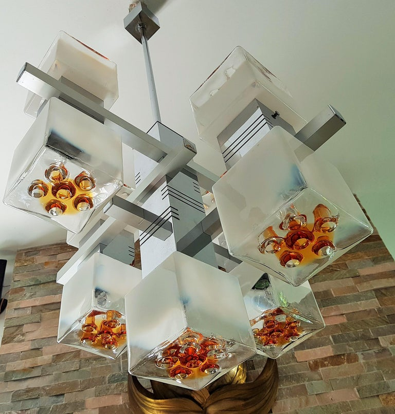 Mid-20th Century Midcentury Murano Chandelier by Mazzega, Italy, 1968 For Sale