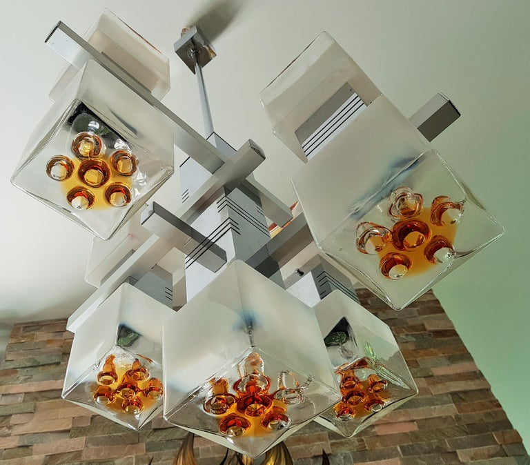 Murano Glass Midcentury Murano Chandelier by Mazzega, Italy, 1968 For Sale