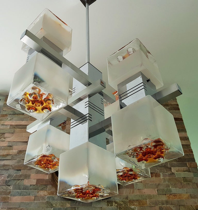 Midcentury Murano Chandelier by Mazzega, Italy, 1968 For Sale 1