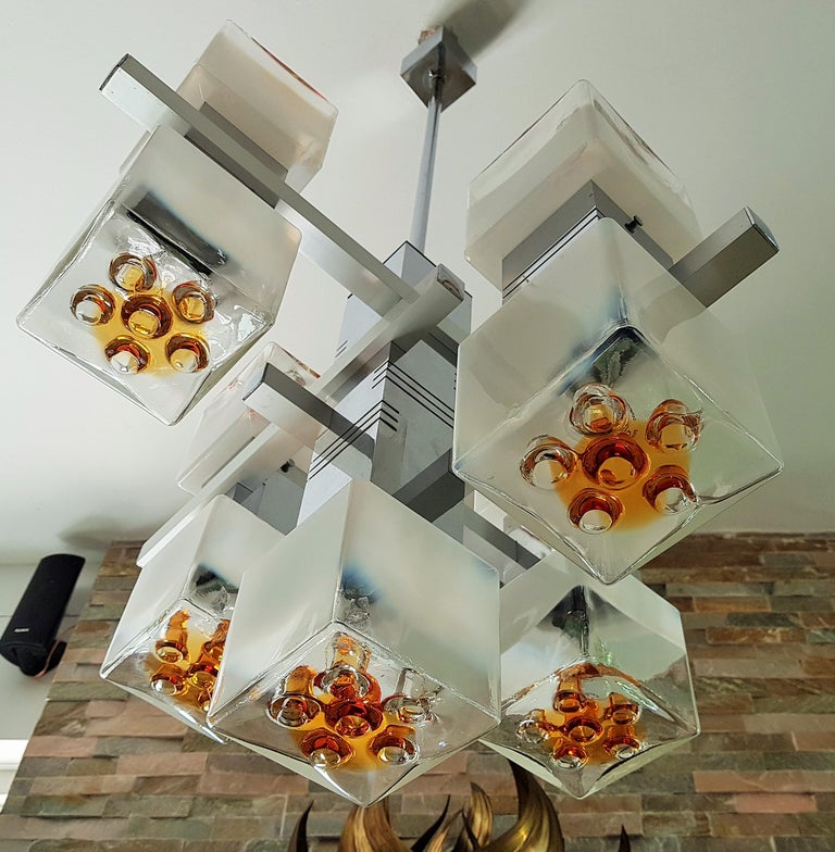 Midcentury Murano Chandelier by Mazzega, Italy, 1968 For Sale 2