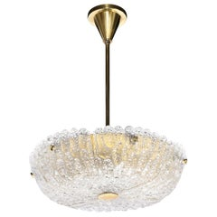 Mid Century Murano Glass & Brass Chandelier by Carl Fagerlund for Orrefors