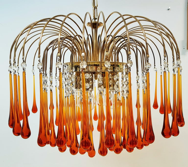 Midcentury Murano Glass Drops Chandelier Style Venini, Italy, 1960s For Sale 7