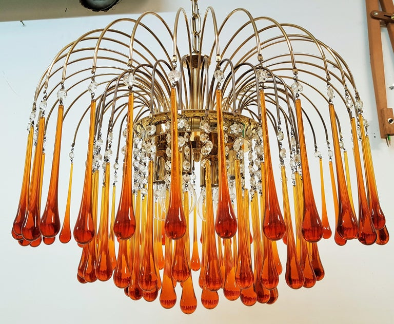 Midcentury Murano Glass Drops Chandelier Style Venini, Italy, 1960s For Sale 9