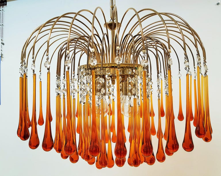 Midcentury Murano Glass Drops Chandelier Style Venini, Italy, 1960s For Sale 13