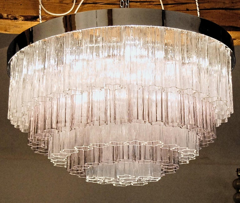 Mid-century Murano glass Tronchi Chandelier Amethyst Clear  Zuccheri Venini 80s For Sale 6
