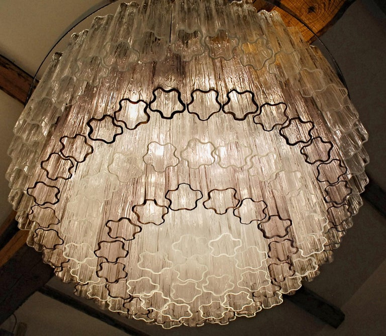 Mid-century Murano glass Tronchi Chandelier Amethyst Clear  Zuccheri Venini 80s For Sale 7