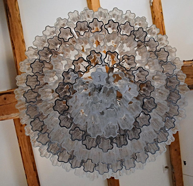 Mid-century Murano glass Tronchi Chandelier Amethyst Clear  Zuccheri Venini 80s For Sale 8