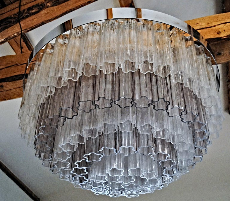 Mid-century Murano glass Tronchi Chandelier Amethyst Clear  Zuccheri Venini 80s For Sale 10