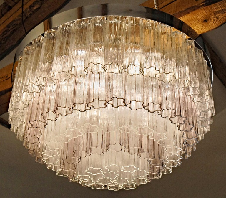 Mid-century Murano glass Tronchi Chandelier Amethyst Clear  Zuccheri Venini 80s For Sale 11