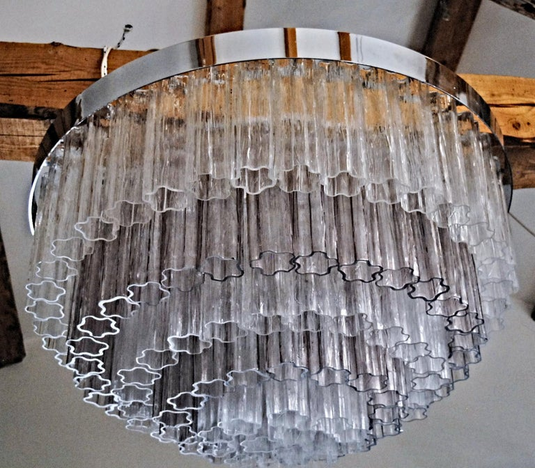 Mid-century Murano glass Tronchi Chandelier Amethyst Clear  Zuccheri Venini 80s For Sale 12