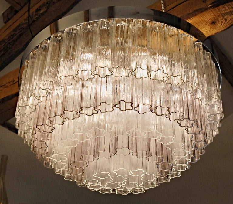 Mid-century Murano glass Tronchi Chandelier Amethyst Clear  Zuccheri Venini 80s For Sale 13