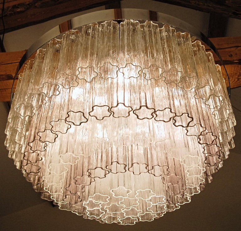 Late 20th Century Mid-century Murano glass Tronchi Chandelier Amethyst Clear  Zuccheri Venini 80s For Sale
