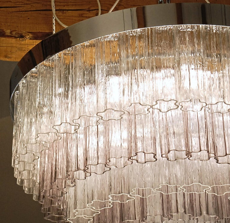 Metal Mid-century Murano glass Tronchi Chandelier Amethyst Clear  Zuccheri Venini 80s For Sale