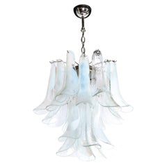 Mid Century Murano Opalescent Glass & Chrome Feather Chandelier by Mazzega