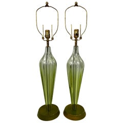 Midcentury Murano Seguso Green Ribbed Art Glass Lamps, a Pair