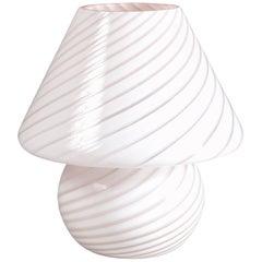 Midcentury Murano Swirl Glass Mushroom Venini Table Lamp