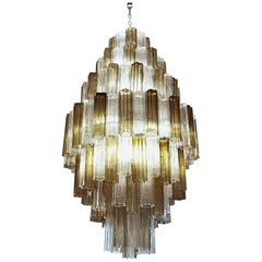 Midcentury Murano Tronchi Chandelier, Seven Tiers, Clear and Taupe Unique Color