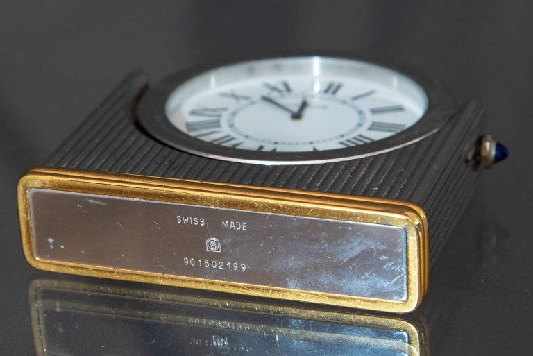 Swiss Midcentury Must de Cartier Table Clock For Sale