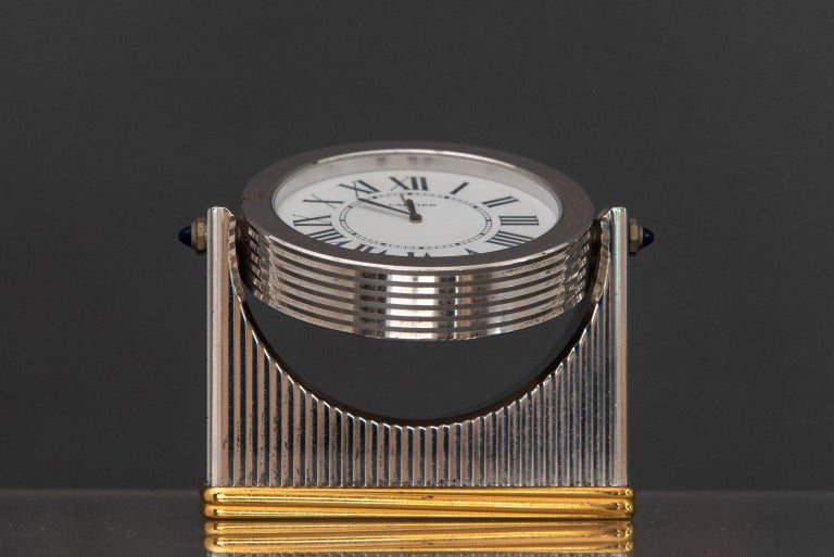 Midcentury Must de Cartier Table Clock In Good Condition For Sale In Paris, FR