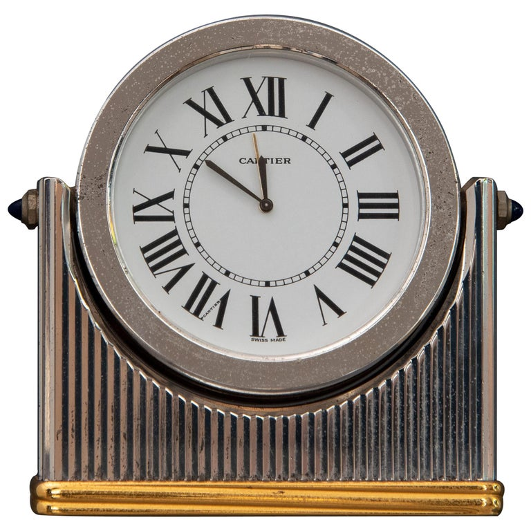 Midcentury Must de Cartier Table Clock For Sale